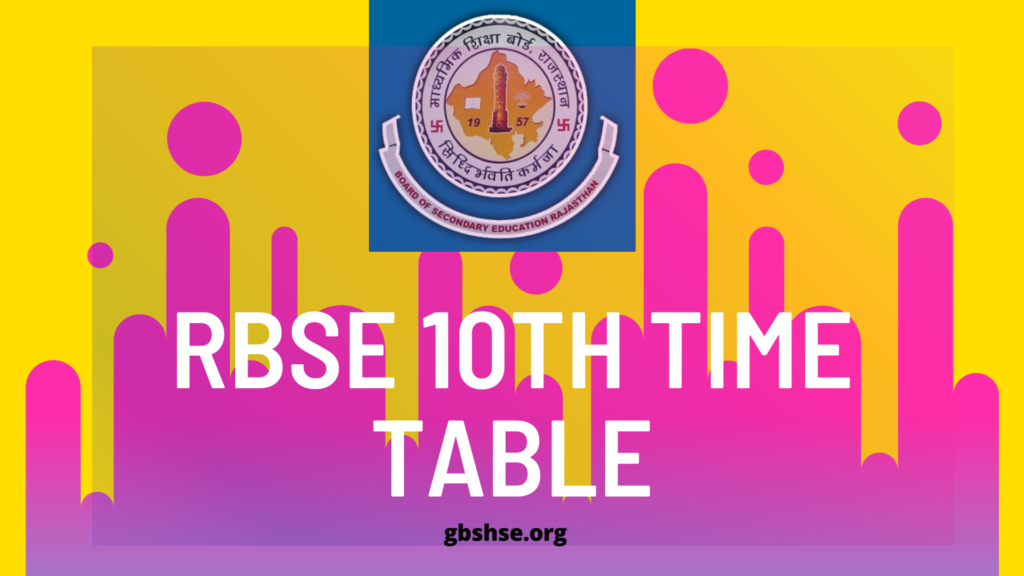 RBSE 10th Time Tabl