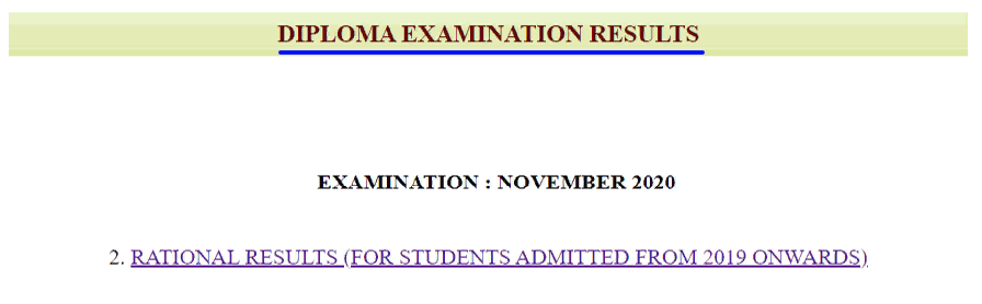 DTE Examination Results 2021 link